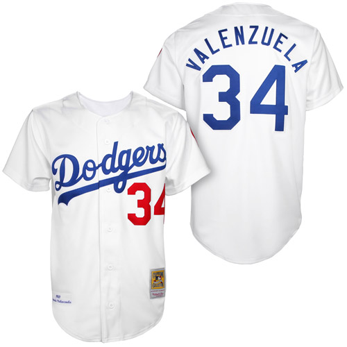 Men's Mitchell and Ness Los Angeles Dodgers #34 Fernando Valenzuela Replica White 1955 Throwback MLB Jersey
