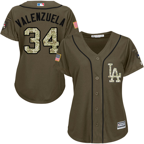 Women's Majestic Los Angeles Dodgers #34 Fernando Valenzuela Authentic Green Salute to Service MLB Jersey