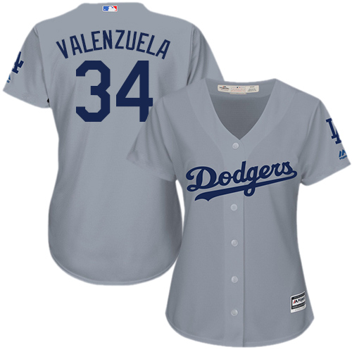 Women's Majestic Los Angeles Dodgers #34 Fernando Valenzuela Authentic Grey Road Cool Base MLB Jersey