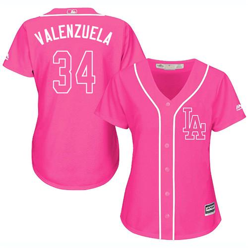 Women's Majestic Los Angeles Dodgers #34 Fernando Valenzuela Authentic Pink Fashion Cool Base MLB Jersey