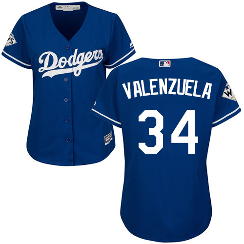Women's Majestic Los Angeles Dodgers #34 Fernando Valenzuela Authentic Royal Blue Alternate 2017 World Series Bound Cool Base MLB Jersey