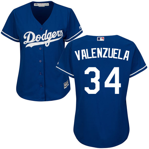 Women's Majestic Los Angeles Dodgers #34 Fernando Valenzuela Authentic Royal Blue Fashion MLB Jersey