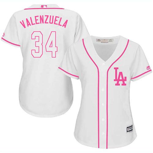 Women's Majestic Los Angeles Dodgers #34 Fernando Valenzuela Authentic White Fashion Cool Base MLB Jersey