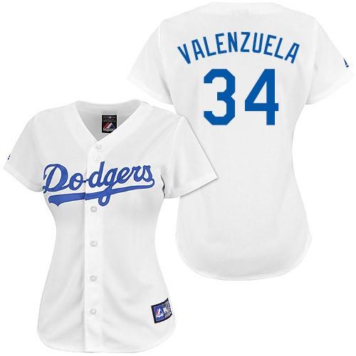 Women's Majestic Los Angeles Dodgers #34 Fernando Valenzuela Authentic White MLB Jersey