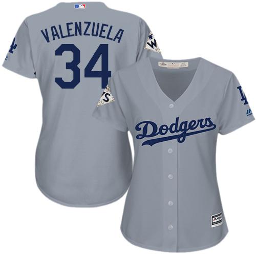 Women's Majestic Los Angeles Dodgers #34 Fernando Valenzuela Replica Grey Road 2017 World Series Bound Cool Base MLB Jersey