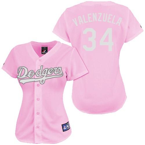 Women's Majestic Los Angeles Dodgers #34 Fernando Valenzuela Replica Pink Fashion MLB Jersey