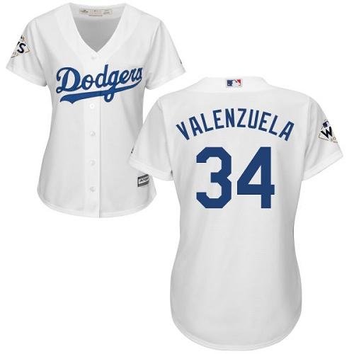 Women's Majestic Los Angeles Dodgers #34 Fernando Valenzuela Replica White Home 2017 World Series Bound Cool Base MLB Jersey
