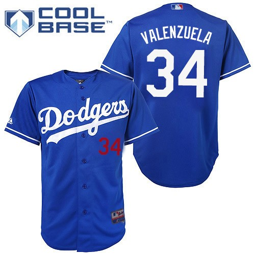 Youth Majestic Los Angeles Dodgers #34 Fernando Valenzuela Authentic Royal Blue Cool Base MLB Jersey