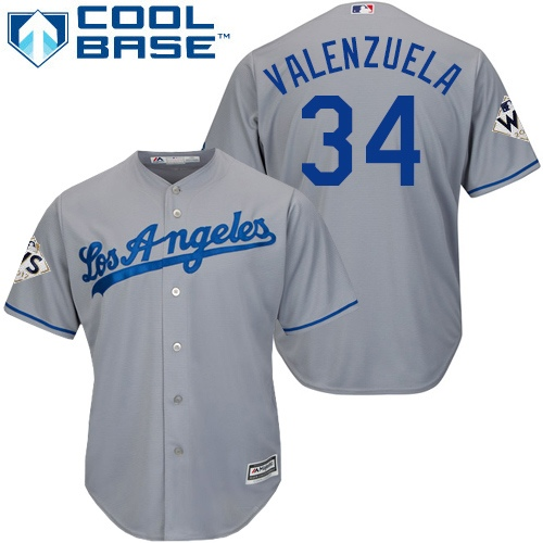 Youth Majestic Los Angeles Dodgers #34 Fernando Valenzuela Replica Grey Road 2017 World Series Bound Cool Base MLB Jersey