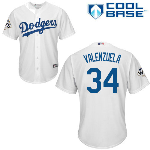 Youth Majestic Los Angeles Dodgers #34 Fernando Valenzuela Replica White Home 2017 World Series Bound Cool Base MLB Jersey