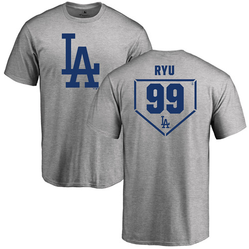 MLB Nike Los Angeles Dodgers #99 Hyun-Jin Ryu Gray RBI T-Shirt