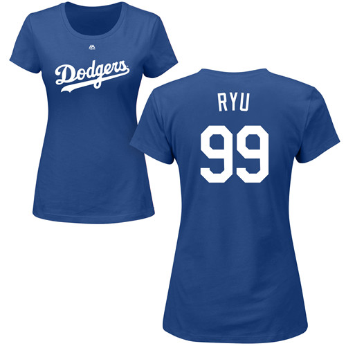 MLB Women's Nike Los Angeles Dodgers #99 Hyun-Jin Ryu Royal Blue Name & Number T-Shirt