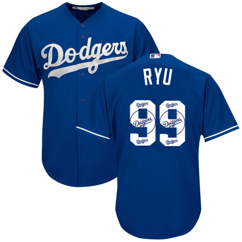 Men's Majestic Los Angeles Dodgers #99 Hyun-Jin Ryu Authentic Royal Blue Team Logo Fashion Cool Base MLB Jersey