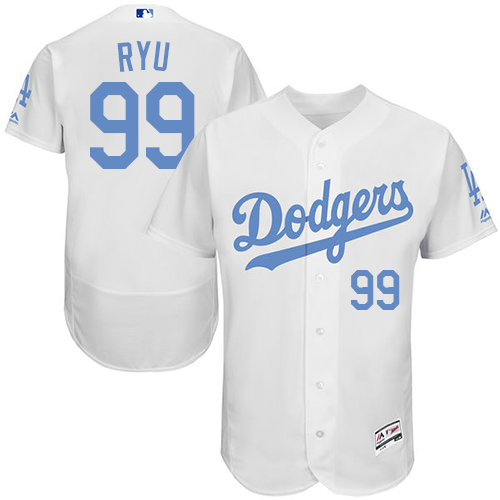 Men's Majestic Los Angeles Dodgers #99 Hyun-Jin Ryu Authentic White 2016 Father's Day Fashion Flex Base MLB Jersey