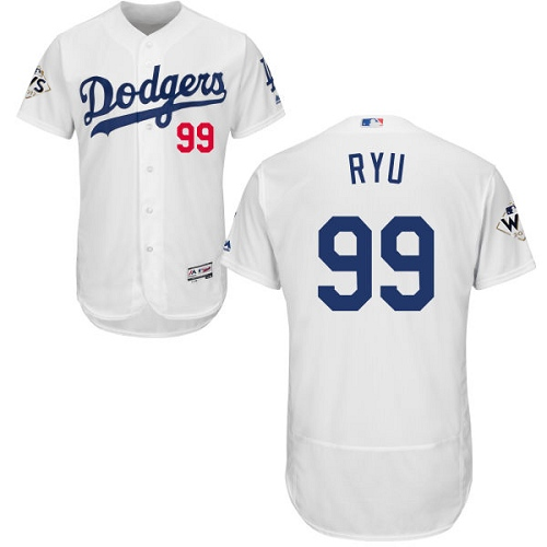 Men's Majestic Los Angeles Dodgers #99 Hyun-Jin Ryu Authentic White Home 2017 World Series Bound Flex Base MLB Jersey
