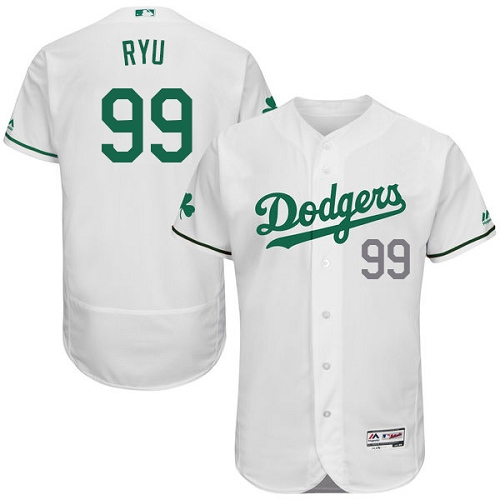 Men's Majestic Los Angeles Dodgers #99 Hyun-Jin Ryu White Celtic Flexbase Authentic Collection MLB Jersey