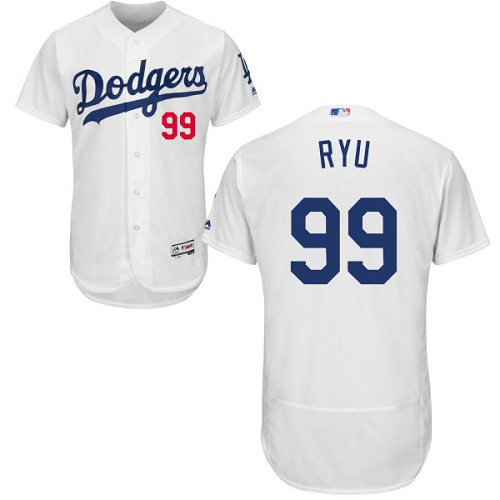Men's Majestic Los Angeles Dodgers #99 Hyun-Jin Ryu White Home Flex Base Authentic Collection MLB Jersey