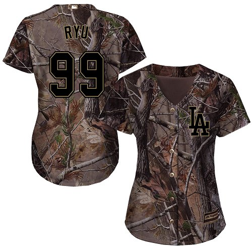 Women's Majestic Los Angeles Dodgers #99 Hyun-Jin Ryu Authentic Camo Realtree Collection Flex Base MLB Jersey