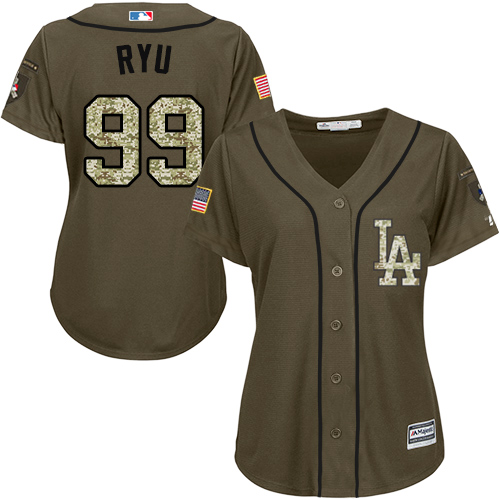 Women's Majestic Los Angeles Dodgers #99 Hyun-Jin Ryu Authentic Green Salute to Service MLB Jersey