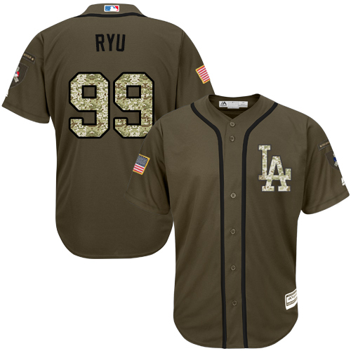Youth Majestic Los Angeles Dodgers #99 Hyun-Jin Ryu Authentic Green Salute to Service MLB Jersey