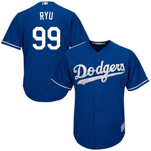 Youth Majestic Los Angeles Dodgers #99 Hyun-Jin Ryu Authentic Royal Blue Alternate Cool Base MLB Jersey