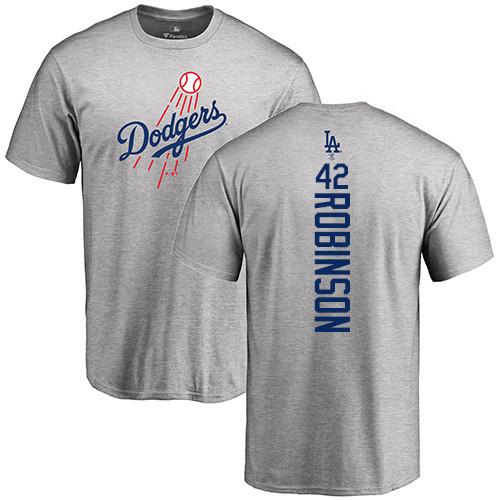 MLB Nike Los Angeles Dodgers #42 Jackie Robinson Ash Backer T-Shirt