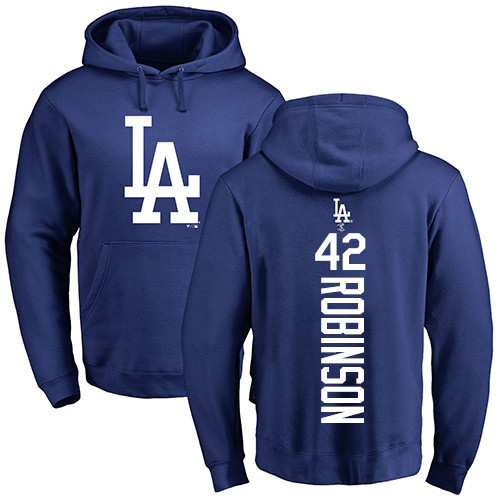 MLB Nike Los Angeles Dodgers #42 Jackie Robinson Royal Blue Backer Pullover Hoodie