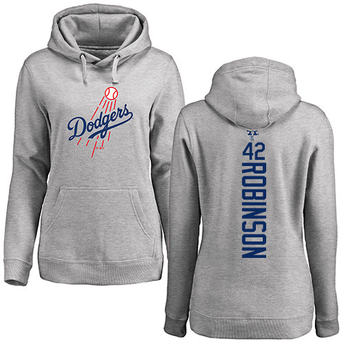 MLB Women's Nike Los Angeles Dodgers #42 Jackie Robinson Ash Backer Pullover Hoodie