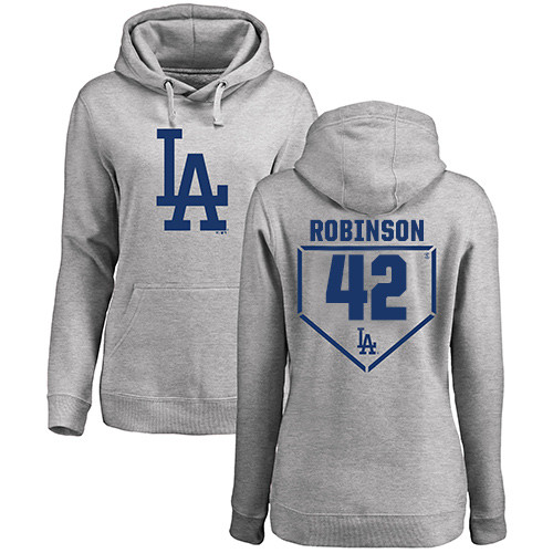 MLB Women's Nike Los Angeles Dodgers #42 Jackie Robinson Gray RBI Pullover Hoodie