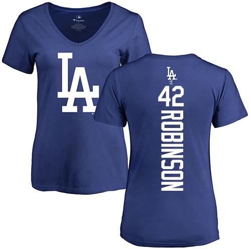 MLB Women's Nike Los Angeles Dodgers #42 Jackie Robinson Royal Blue Backer T-Shirt