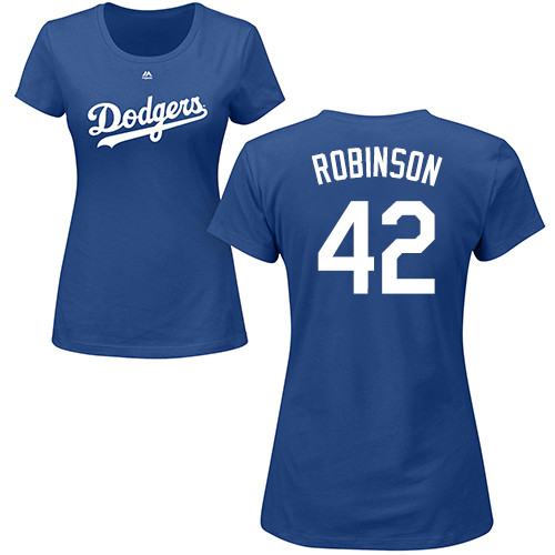 MLB Women's Nike Los Angeles Dodgers #42 Jackie Robinson Royal Blue Name & Number T-Shirt