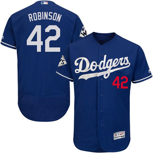 Men's Majestic Los Angeles Dodgers #42 Jackie Robinson Authentic Royal Blue Alternate 2017 World Series Bound Flex Base MLB Jersey