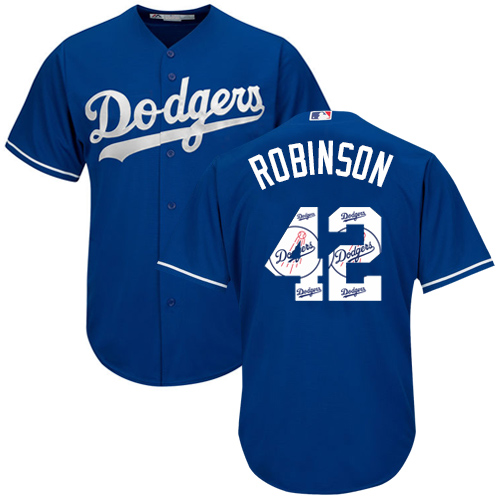 Men's Majestic Los Angeles Dodgers #42 Jackie Robinson Authentic Royal Blue Team Logo Fashion Cool Base MLB Jersey