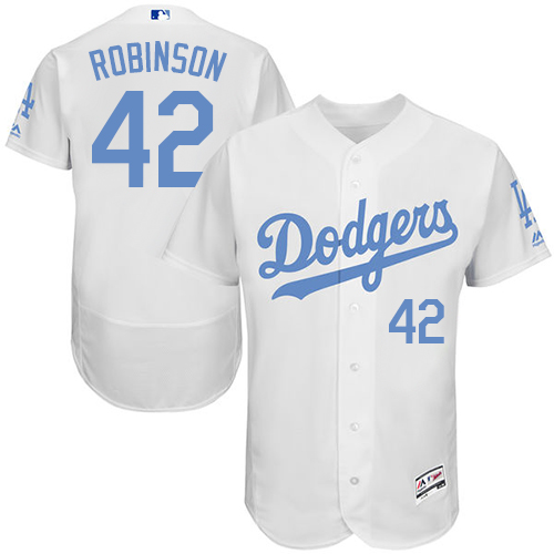 Men's Majestic Los Angeles Dodgers #42 Jackie Robinson Authentic White 2016 Father's Day Fashion Flex Base MLB Jersey