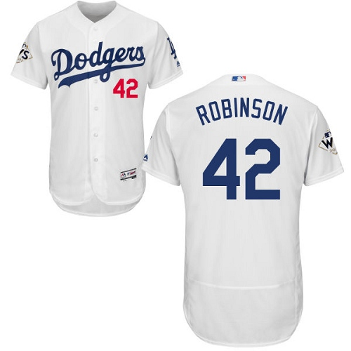 Men's Majestic Los Angeles Dodgers #42 Jackie Robinson Authentic White Home 2017 World Series Bound Flex Base MLB Jersey