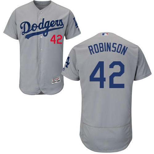 Men's Majestic Los Angeles Dodgers #42 Jackie Robinson Gray Alternate Road Flexbase Authentic Collection MLB Jersey