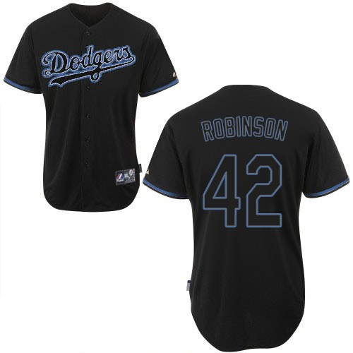 Men's Majestic Los Angeles Dodgers #42 Jackie Robinson Replica Black Fashion MLB Jersey