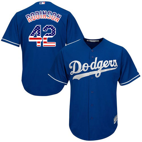 Men's Majestic Los Angeles Dodgers #42 Jackie Robinson Replica Royal Blue USA Flag Fashion Cool Base MLB Jersey