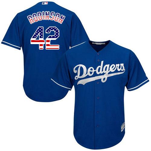 Men's Majestic Los Angeles Dodgers #42 Jackie Robinson Replica Royal Blue USA Flag Fashion Cool Base MLB Jersey