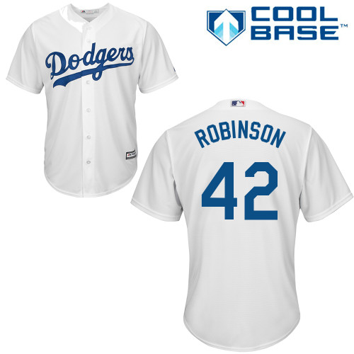 Men's Majestic Los Angeles Dodgers #42 Jackie Robinson Replica White Home Cool Base MLB Jersey