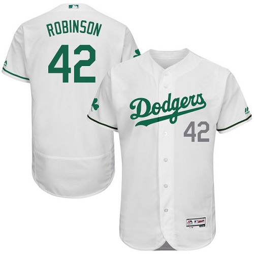 Men's Majestic Los Angeles Dodgers #42 Jackie Robinson White Celtic Flexbase Authentic Collection MLB Jersey
