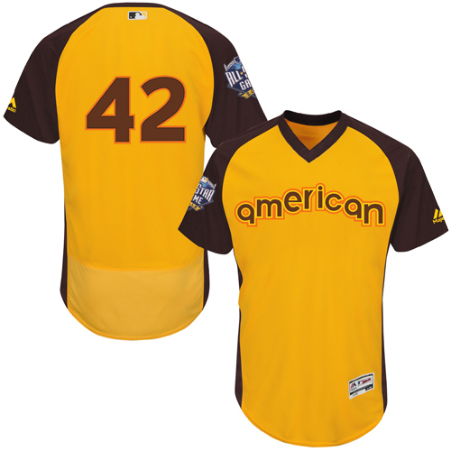 Men's Majestic Los Angeles Dodgers #42 Jackie Robinson Yellow 2016 All-Star American League BP Authentic Collection Flex Base MLB Jersey