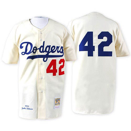 Men's Mitchell and Ness 1955 Los Angeles Dodgers #42 Jackie Robinson Replica White Throwback MLB Jersey