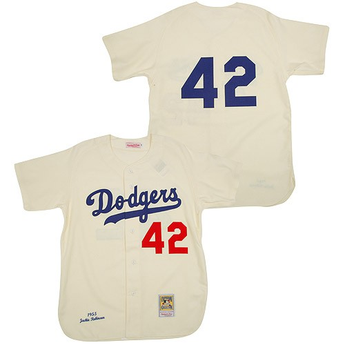 Men's Mitchell and Ness Los Angeles Dodgers #42 Jackie Robinson Authentic Cream Throwback MLB Jersey