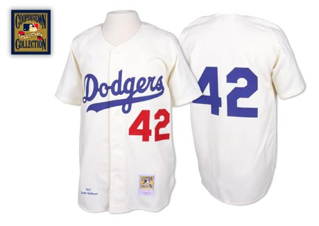 Men's Mitchell and Ness Los Angeles Dodgers #42 Jackie Robinson Authentic White Throwback MLB Jersey