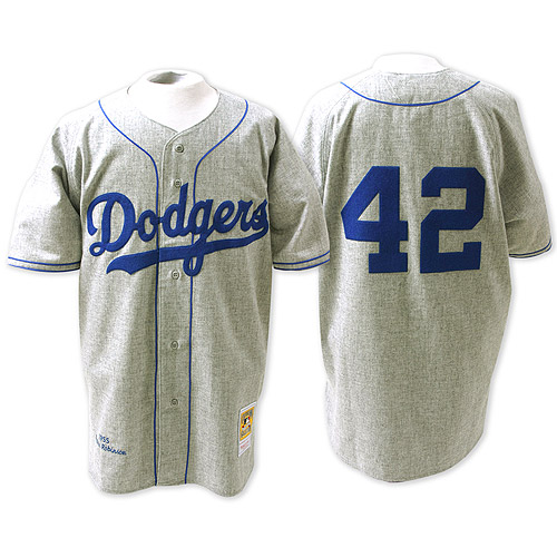 Men's Mitchell and Ness Los Angeles Dodgers #42 Jackie Robinson Replica Grey Throwback MLB Jersey
