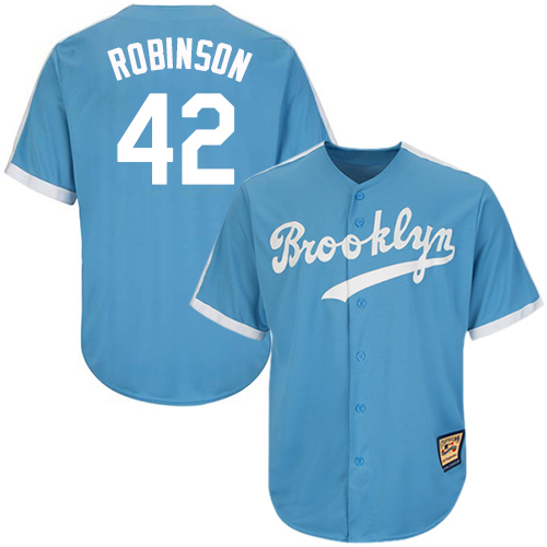 Men's Mitchell and Ness Los Angeles Dodgers #42 Jackie Robinson Replica Light Blue Throwback MLB Jersey