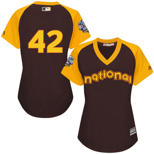 Women's Majestic Los Angeles Dodgers #42 Jackie Robinson Authentic Brown 2016 All-Star National League BP Cool Base MLB Jersey