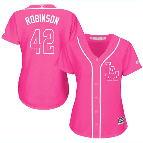 Women's Majestic Los Angeles Dodgers #42 Jackie Robinson Authentic Pink Fashion Cool Base MLB Jersey