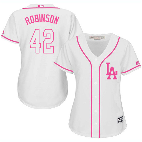 Women's Majestic Los Angeles Dodgers #42 Jackie Robinson Authentic White Fashion Cool Base MLB Jersey